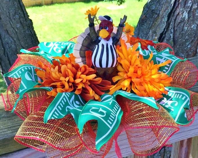 SALE- Football Turkey Referee Floral - Fall Halloween Centerpiece