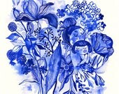 Sweet blues...  limited edition giclee print of an original watercolor illustration (8 x 8 in)