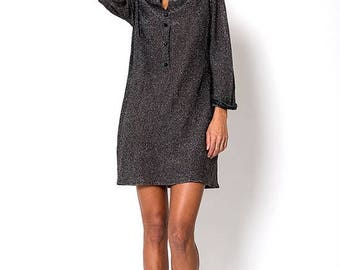 40% OFF CLEARANCE SALE The Charcoal Metallic Glitter New Years Eve Knit Dress