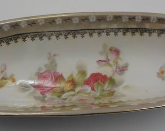 Stunning and so Beautiful - Vintage Porcelain Relish Tray - Bread Tray-large  - Handled - Made in Germany - Roses - Shabby Cottage