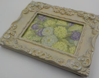 Wood Picture Frame - 5 X 7 - Ornate - Shabby Cottage - Distressed - Creamy White