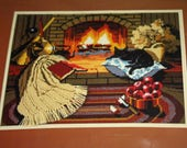 Vintage 1980s Dimensions Needlepoint Kit 2326, By the Hearth, Unopened kit
