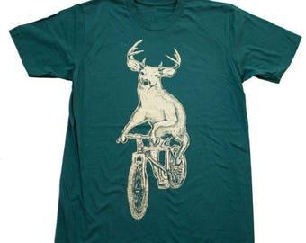 SUMMER SALE Deer on a Mountain Bike- Mens T Shirt, Unisex Tee, Cotton Tee, Handmade graphic tee, Bicycle shirt, Bike Tee, sizes xs-xxl