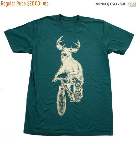 SUMMER SALE Deer on a Mountain Bike- Mens T Shirt, Unisex Tee, Cotton Tee, Handmade graphic tee, Bicycle shirt, Bike Tee, sizes xs-xxl