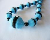 Art Deco Glass Beaded Necklace, Light Blue, Black, Restrung, 1930's, Czech, Choker