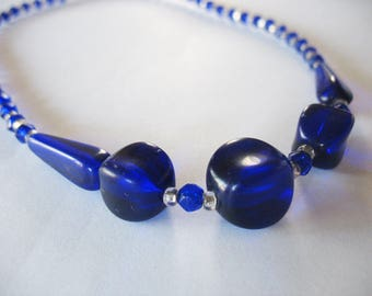 Glass Beaded Necklace, Colbalt Blue, Art Deco, 1930's, Blue Glass, Choker Style