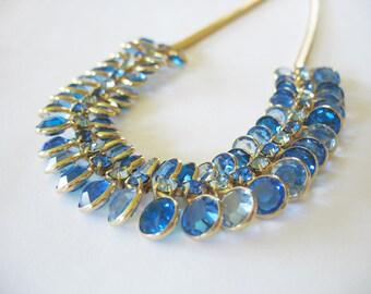 Vintage Blue Crystal Necklace, Sapphire Rhinestones, 1960's, Bezel set, Goldtone, Choker