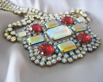 Rhinestone Runway Necklace, Square, Drag Queen, Stage Performer, Aurora Borealis, Large Pendant Focal, Ruby Red, Gold, Magnetic Clasp