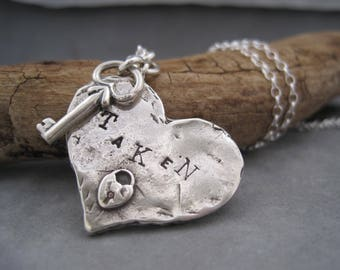 Key to My Heart - Lock and Key - Taken - Large Chunky Silver Heart - Textured - Stamped Heart Necklace