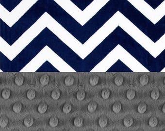 SALE Personalized Minky Baby Blanket, Gray & Navy Chevron Baby Blanket // Baby Shower Gift // Receiving Blanket // Name Baby Blanket