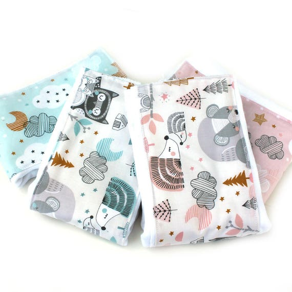 Woodland Burp Cloths // Pink Gray Blue - Set of 4 // Cotton Burp Cloth // Adventure Nursery //  Baby Shower Gift // Gift For Baby
