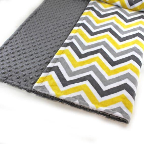 Minky Baby Blanket Boy Girl, Yellow Gray Chevron Personalized Baby Blanket, Chevron Baby Blanket, Gender Neutral Baby Gift Name Baby Blanket