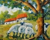 ON SALE Sheep on the Farm - Farm Landscape - mini Original Oil Painting created by Prankearts