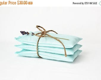 SALE Aqua Blue Lavender Sachets  - Unique Bridesmaid Gift - Farmhouse Decor