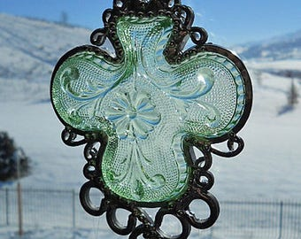 Chantilly Shamrock - Windchime created from Vintage clover-shaped dish