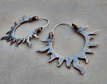 Solar Passion Hoop Earrings, Antiqued Bronze, Sun, Flames, Mixed Metal, Gypsy, Fire Dancer, Belly Dancer, Bohemian Goddess, Metalsmithed