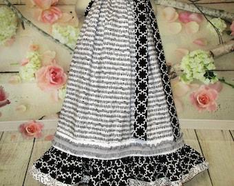 Girls Dress 5/6 Musical Music Notes Black White Pillowcase Dress, Pillow Case Dress, Sundress, Boutique Dress