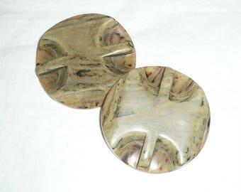 Large Vintage coat buttons, marbled tan, brown, deep carved, Set of 2, Destash buttons