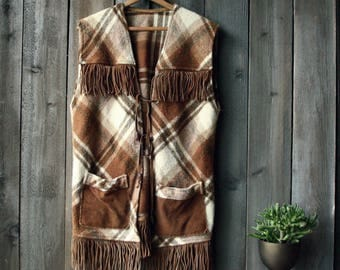 70s Vest Wool and Leather With Fringe Bohemian Fashion Boho Chic Vintage From Nowvintage on Etsy