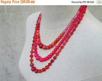 XMAS in JULY SALE Hot Pink Orange Multi Strand Graduated Beaded Necklace