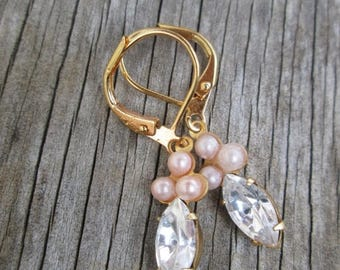 XMAS in JULY SALE Vintage Style Tiny Pink Pearl  Clear Crystal Petite Drop Earrings Gold Tone