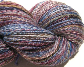 Handspun yarn, Blue Mollusk, 424 yards, DK weight, blue yarn, purple yarn, 2 ply,  Superwash BFL wool, Nylon, sock yarn, knitting supplies