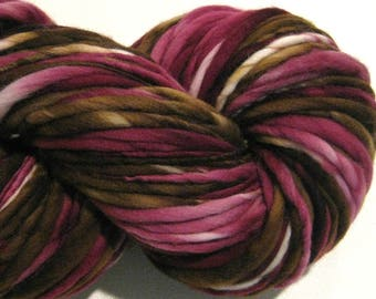 Bulky Handspun Yarn Black Cherry Truffle 136 yards hand dyed merino wool brown maroon burgundy yarn  knitting supplies crochet supplies
