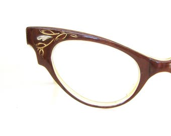 Vintage Italian Cat Eye Glasses Eyeglasses Sunglasses Scalloped Frame