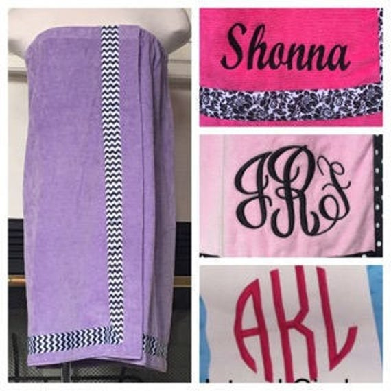 Spa Wrap Personalized Plus Size Womens Lavender Towel Wrap With Accent Ribbon-FREE SHIPPING
