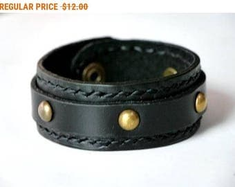 Black Leather Cuff Leather Bracelet Leather Bangle with Snap Button