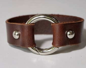 Leather Cuff Bracelet Leather Bracelet Leather Bangle in Brown Color with Metal O Ring Silver Tone