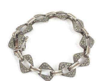 CIJ Sale Sterling Marcasite Link Bracelet Geometric Angled Open Links Vintage