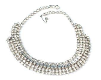 Rhinestone Wedding Necklace Choker Length Baguettes Chatons Diva Glamor Girl
