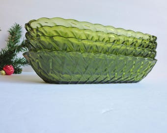 Vintage Celery Dish - Avocado Green Pretzel Pattern Pressed Indiana Glass -  Basket Weave Green Glass Dish - Oblong Green Glass Serving Dish