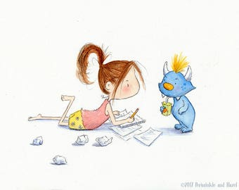 THE WRITER  - Auburn Hair Girl and Blue Monster-  Art Print