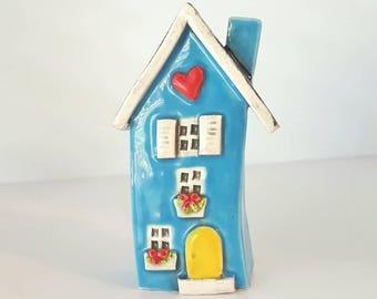 Little Clay House | Light Blue Ceramic House | Miniature House | Whimsical house | Fairy House | Clay Cottage | Housewarming gift