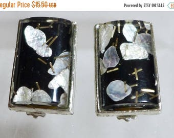 Sale 15% 1950's Earrings Confetti Lucite Silver Black Gold Mother of Pearl Large