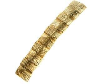 1980s GOODY Gold Plated Basketweave Embossed Vintage Hair Barrette Hair Clip Hair Jewelry