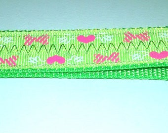Lime Green w/ Pink Hearts & Bow ties  Key Ring Fob with Clip