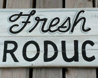 Fresh produce hand painted sign art on pallet wood farmhouse style farmers market