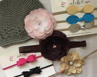 SUMMER SALE Baby Headband Photographers Package Baby Leather Bow Knot Nylon Headband Beanie Felt Headband Flower Headbands
