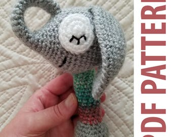 PDF Pattern: Sleepy Elephant Baby Rattle
