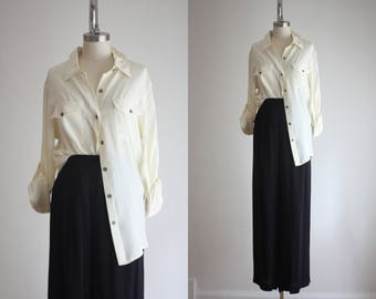 ivory silk blouse