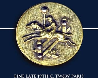 OH BOY SALE Button--Large 19th C. Paris Back Brass Equestrian Steeplechase Horse & Jockey Taking Jump