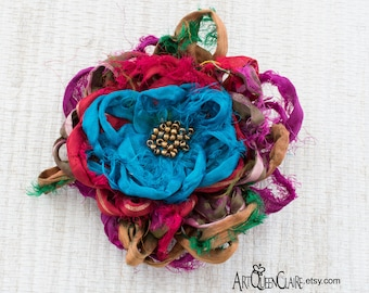 Serendipity Sari Silk Fabric Flower Pin, Random Colors Flower Brooch, Sari Silk Beaded Flower Brooch