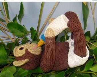 40% OFF SALE Instant Digital File PDF Download knitting pattern -Charlie Baby Chimpanzee toy animal knitting pattern pdf download