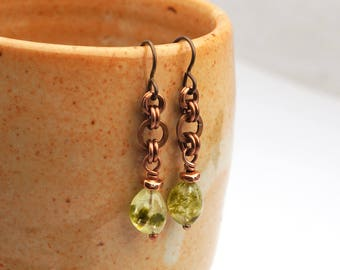 Green copper earrings, Niobium French hooks, prehnite semiprecious stones