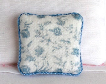 1:12 Pillow - Blue Floral - Handmade Dollhouse Scale Miniature - Shabby Cottage Chic *Free Shipping*