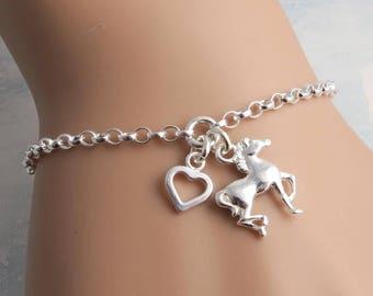 Horse Bracelet - Sterling Silver Horse and Heart Bracelet - horse lover jewelry