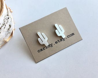 Silver Stainless Steel Cactus Stud Earrings, Cactus Earrings, Cactus Studs, Stainless Steel Studs, Silver Studs, Cactus Stud Earrings